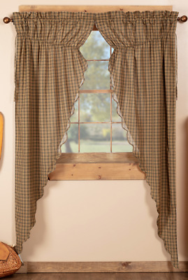 CEDAR RIDGE Prairie Long Curtain Set  Plaid Rustic Lodge Cabin Green/Tan VHC
