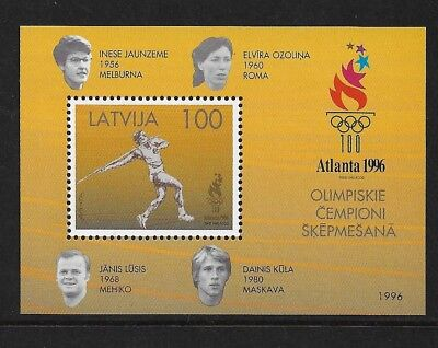 1996 ATLANTA OLYMPIC GAMES, Javelin, LATVIA, mint mini sheet, MNH MUH