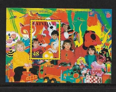 1996 CHILDRENS GAMES, Toys, LATVIA, mint mini sheet, MNH MUH