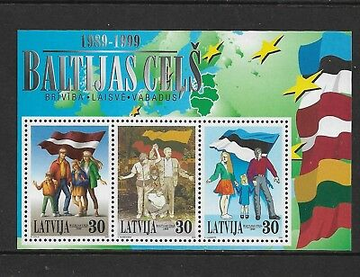 1999 10th ANNIVERSARY of BALTIC CHAIN, Freedom, LATVIA, mint mini sheet, MNH MUH