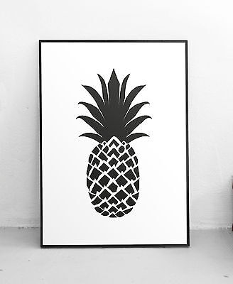 Black and White Pineapple Wall Art Print Illustration Gallery Kitchen Poster
