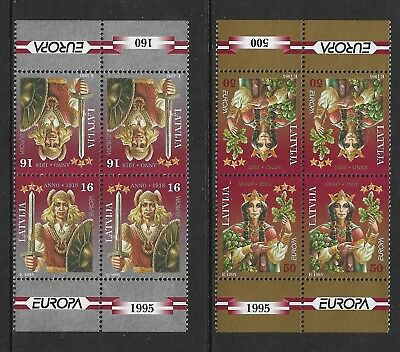 1995 EUROPA, Peace & Freedom, LATVIA, mint tete-beche blocks of 4, MNH MUH
