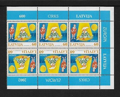 2002 EUROPA, Circus, Clowns, LATVIA, mint tete-beche block of 6, MNH MUH