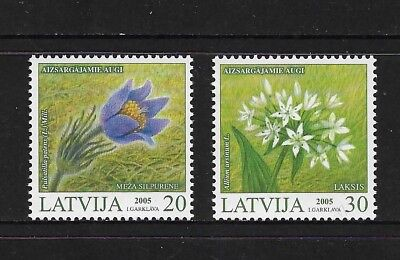 2005 FLOWERS, Plants, LATVIA, mint set of 2, MNH MUH