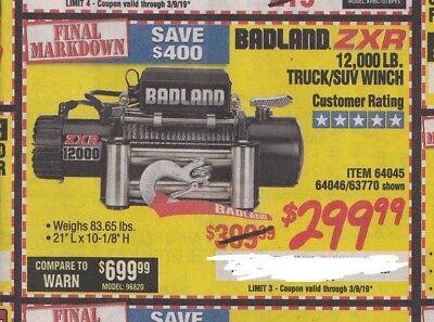 Madison : 12000 lb winch at harbor freight