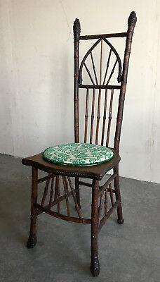 Late 19th Century Antique Victorian Aesthetic Bamboo & Burl Knob Side Chair