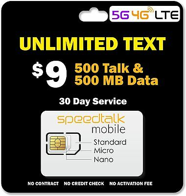 $9 Prepaid SIM Card UNLIMITED Text | 500 Mins and 500 MB Data for 30 Day Service