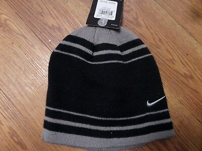 7dc7db42bf7 BOYS 8-20 NIKE beanie winter Hat black with gray swoosh NWT  20.00 ...