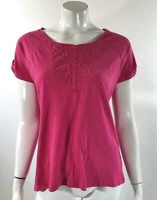 352adf48e04 Basic Editions Womens Top Size Small Pink Short Sleeve Eyelet Detail Tee  Shirt