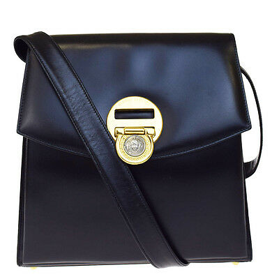 Authentic GIANNI VERSACE Logos Shoulder Bag Medusa Nylon Leather Black  00B1217 d435368425