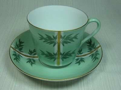 Noritake 1908- ? Mint Green Cup & Saucer Bamboo w/Gold Stems Gold Trim Very Rare