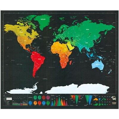 Deluxe Travel Scratch Off World Map Journal Log Giant Map Of The World Gift 2019