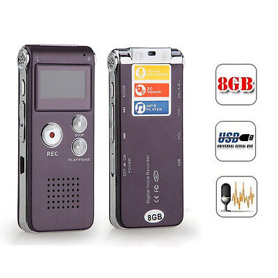 Rechargeable 8GB Digital Audio/Sound/Voice Recorder Dictaphone MP3 Player CFF