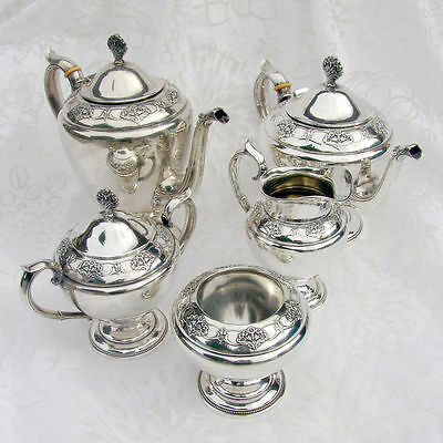 Queen`s Lace 5 Piece Tea Set International 1949 Sterling Silver