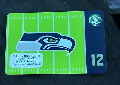NEW 2016 Official Seattle Seahawks NFL Starbucks Gift 12th Man Card Hard To Find