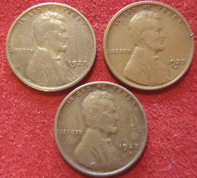 1927 P, D & S Lincoln Wheat Pennies -3 Penny Set Of 3 Nice One Cent Coins K4