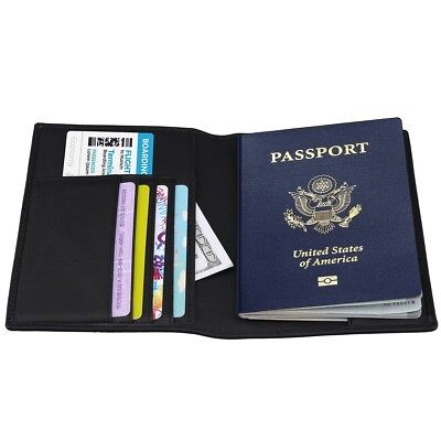 Genuine Leather RFID Blocking Passport Holder Cover ID Credit Card Wallet Safety