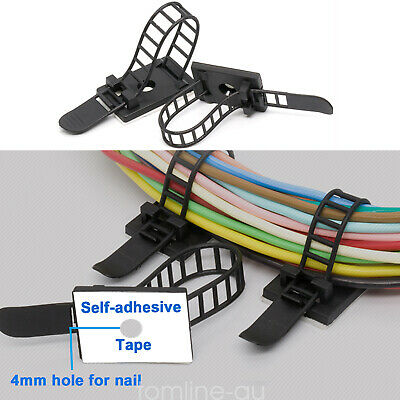 40Pcs Electrical Cable Clips Adhesive Adjustable Cord Management Organiser Black