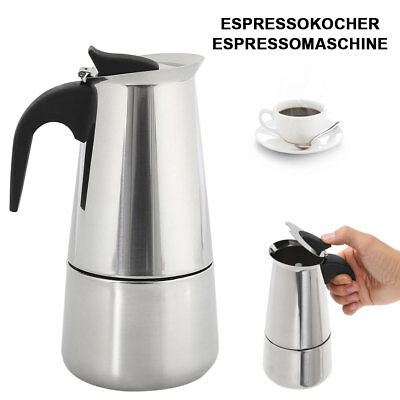 6 tasses moka Coffee Pot Maker italien Cafetiere Percolator 300ml en acier inox