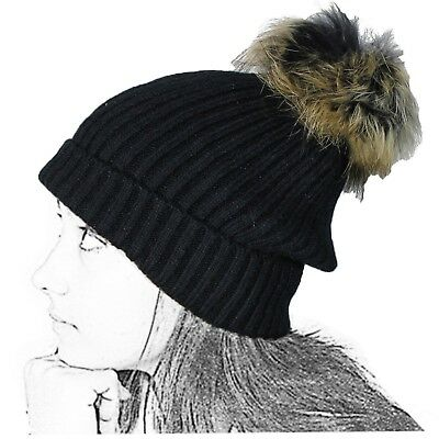 Cap Long's Knit Woman Black Wool Pompon Pello Ball Leather Teddy Fabric Double