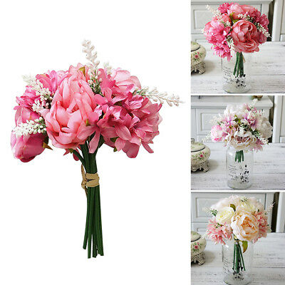 KF_ 1 Bouquet Artificial Peony Rose Flower Wedding Party Home Hotel Cafe Decor