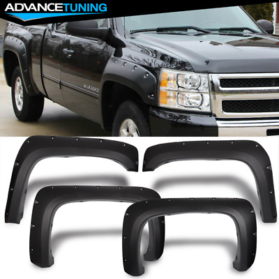 Fits 07-14 Chevy Silverado Long Bed Pocket Rivet Style Textured PP Fender Flares
