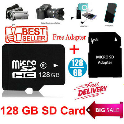 Micro SD Memory Card 128GB Flash TF Class 10 SDXC SDHC Card + Adapter Universal