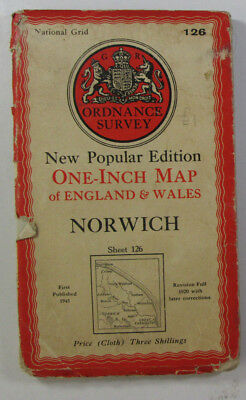 1945 Old OS Ordnance Survey New Popular Edition One-Inch CLOTH Map 126 Norwich