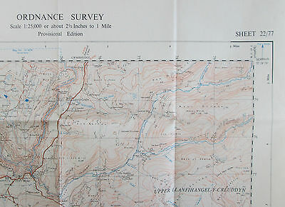 1948 OS Ordnance Survey 1:25000 First Series Prov Map SN 77 Devil's Bridge 22/77