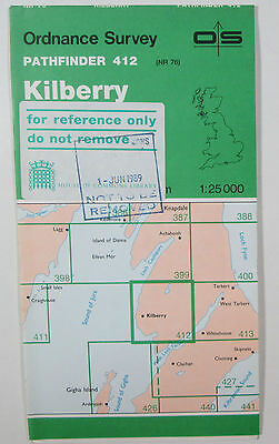 1988 old vintage OS Ordnance Survey 1: 25000 Pathfinder map 412 Kilberry NR 76