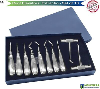 Dental Extraction Root Elevators Set 10pc Surgical Elevator Bein Flohr Heidbrink
