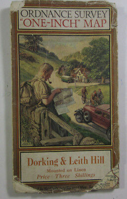 1934 Old Vintage OS Ordnance Survey One Inch Tourist Map Dorking & Leith Hill
