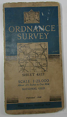 1948 old OS Ordnance Survey 1:25000 First Series Prov map SK 17 Tideswell 43/17