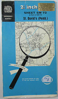 1965 old vintage OS Ordnance Survey 1:25000 First Series map SM 72 St David's
