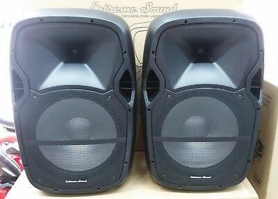 "Coppia Casse Amplificate Attive 15"" 2400W Audio Dj Mp3 Usb/Sd Bluetooth Radio Fm"