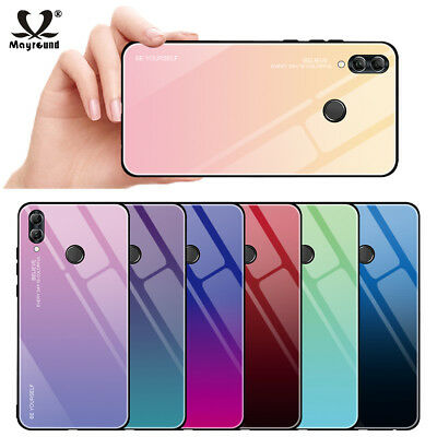 cheap for discount 57ff8 72628 FOR HUAWEI P Smart 2019 Gradient Tempered Glass Silm Hard TPU Bumper Case  Cover