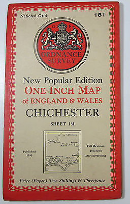 1946 old OS Ordnance Survey New Popular Edition one-inch map 181 Chichester