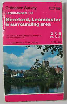 1989 old vintage OS Ordnance Survey Landranger Map 149 Hereford Leominster etc