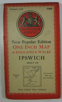 1946 Old OS Ordnance Survey One-Inch New Popular Edition CLOTH Map 150 Ipswich