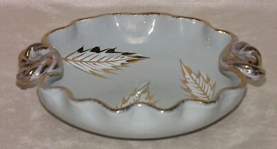 Vintage Italian Bluish Grey Pottery Hand Crafted Handled Scalloped Leaf Dish
