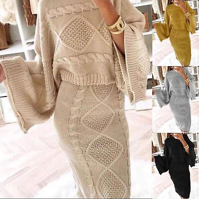 Ladies Womens Cable Knitted Chunky Flared Jumper Skirt Co-Ord Suit Two Piece Set