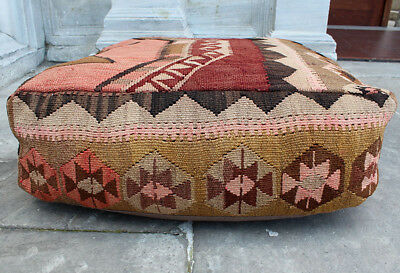 %100 Wool Handmade Vintage Big Size Pillow/Anatolian Kilim Pouf Pillow Cover 28""