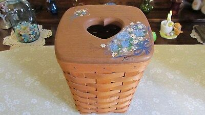 Longaberger Medium Spoon Basket withHand PaintedWooden Lid and Protector