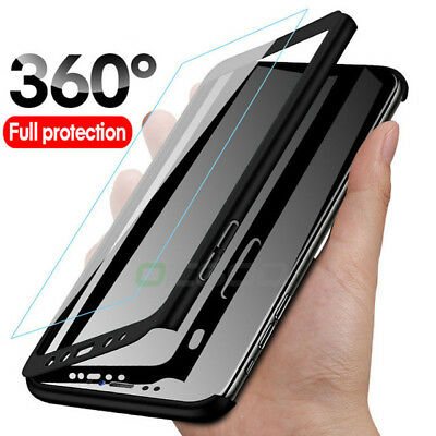 For Xiaomi Mi 8 Lite A2 Lite A1 360°Full Protect Hard Case Cover+Tempered Glass