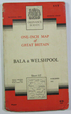 Old 1963 OS Ordnance Survey One-Inch Seventh Series Map 117 Bala & Welshpool