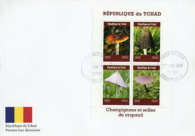 Chad 2019 FDC Mushrooms Toadstools 4v M/S Cover Champignons Fungi Nature Stamps
