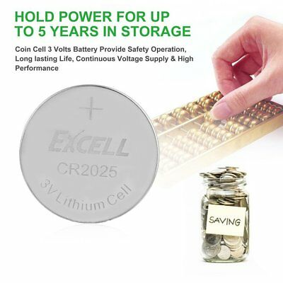 EXCELL 5pcs 3V CR2025 Lithium Coin Cell Button Battery for Toys Remote BatteYF