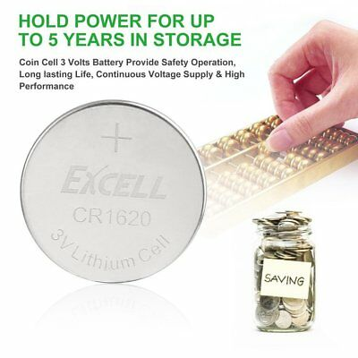 EXCELL 5pcs 3V CR1620 Lithium Coin Cell Button Battery for Doorbell Toy Timer HC