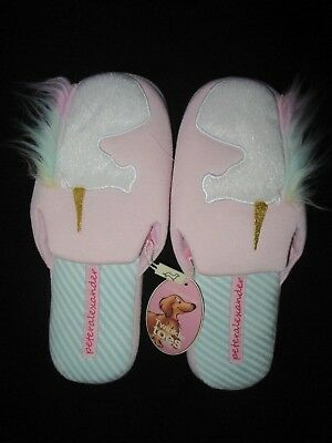 Peter Alexander Ladies Unicorn Scuff Slippers    Size S,M, XL      NWT