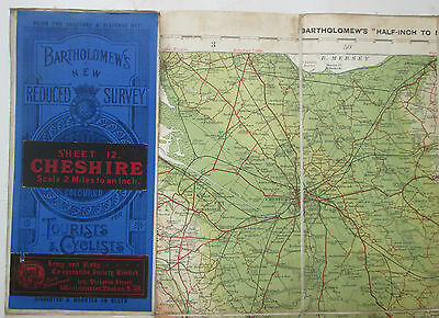 App 1911 old vintage antique Bartholomew's half inch map 12 Cheshire - dissected